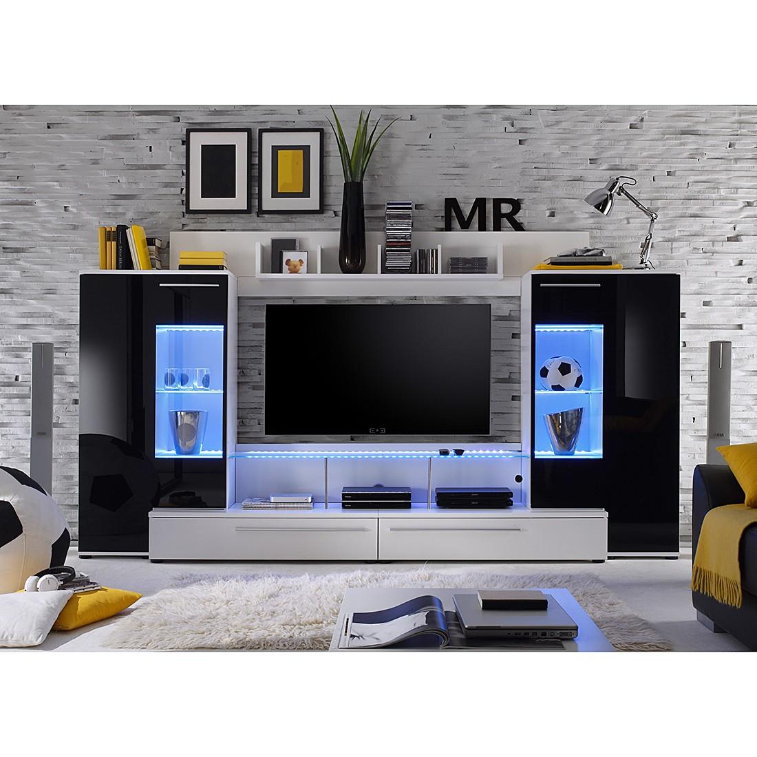 Wohnwand Vito (4-teilig) - Hochglanz Schwarz/Weiß, lackiert - ohne Bleuchtung, roomscape