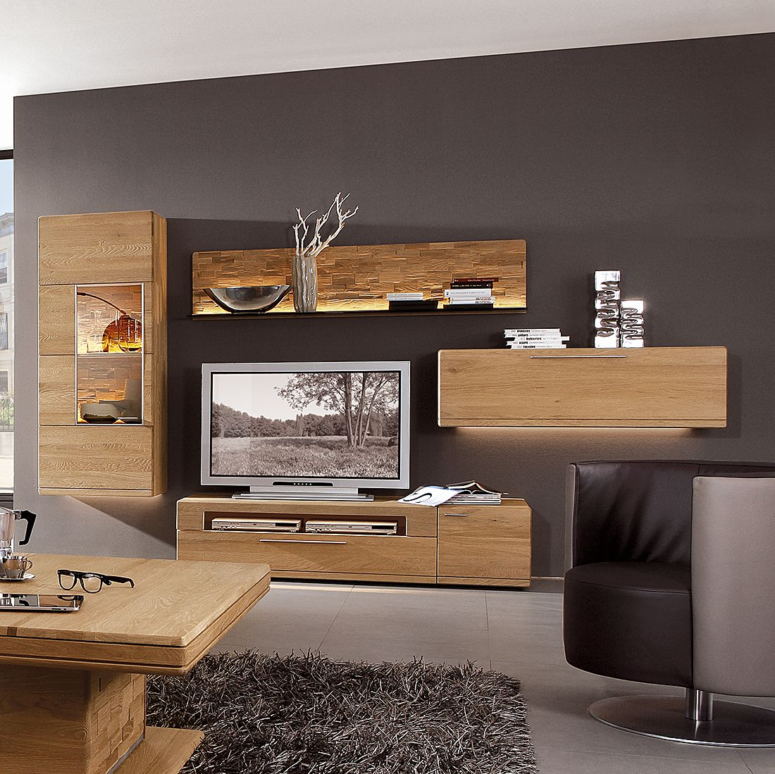 eek a massivholz wohnwand atlantis 3 teilig wildeiche massivholz altholzfarben ge lt braun. Black Bedroom Furniture Sets. Home Design Ideas