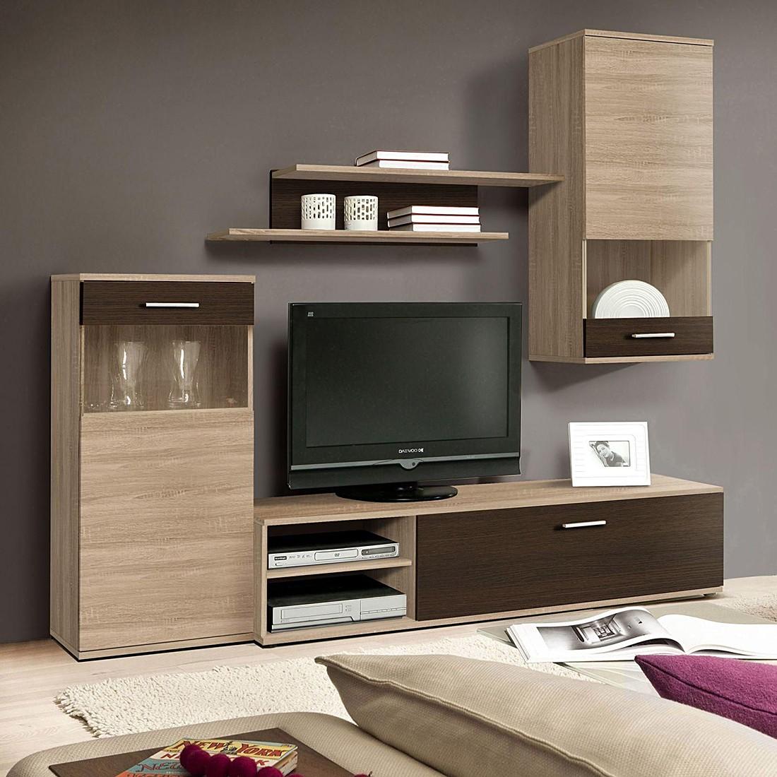 wohnwand eiche sonoma schwarz interessante ideen f r die gestaltung eines raumes. Black Bedroom Furniture Sets. Home Design Ideas