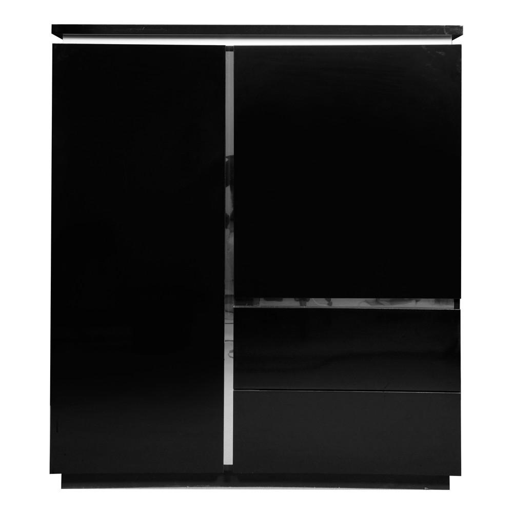 Wohnzimmerschrank Menton - Schwarz lackiert - Indirekte Beleuchtung