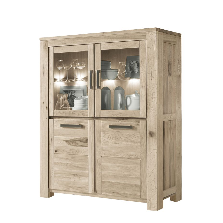 Wohnzimmerschrank Mirono – Balkeneiche Massivholz – White Wash – Ausfürung: Mit Beleuchtung, Möbel Exclusive online bestellen