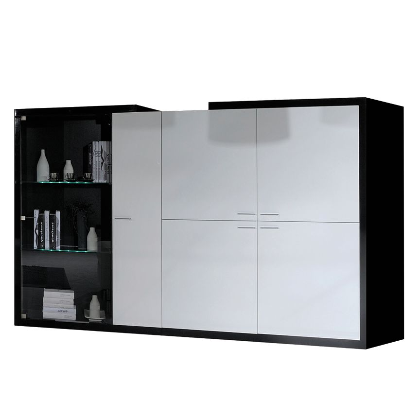 wohnzimmerschrank pina schwarz wei hochglanz mit. Black Bedroom Furniture Sets. Home Design Ideas