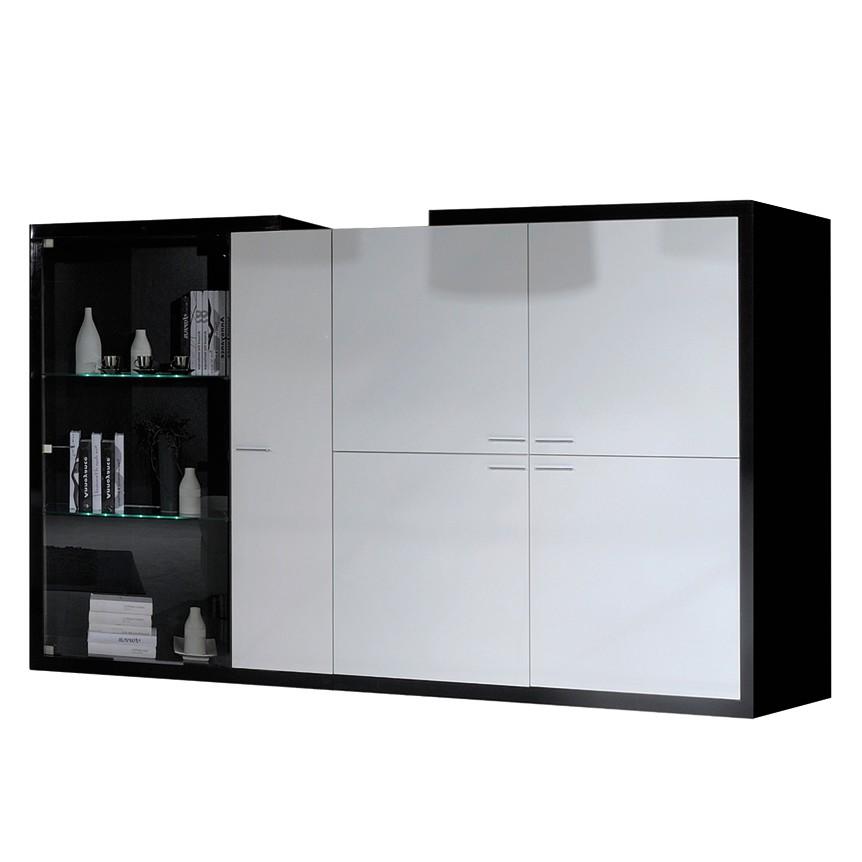 Wohnzimmerschrank Pina - Schwarz/Weiß Hochglanz - Mit Beleuchtung