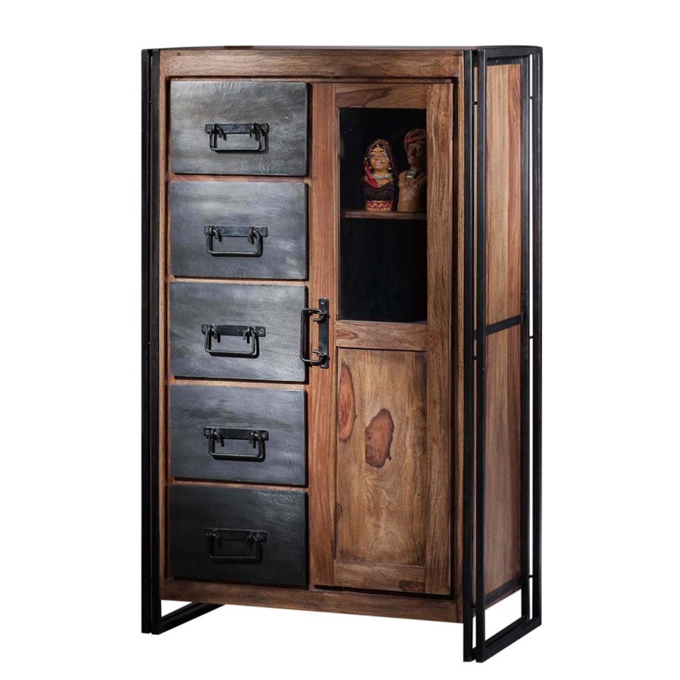 wohnzimmerschrank portland shesham massivholz alteisen natur lackiert schwarz. Black Bedroom Furniture Sets. Home Design Ideas