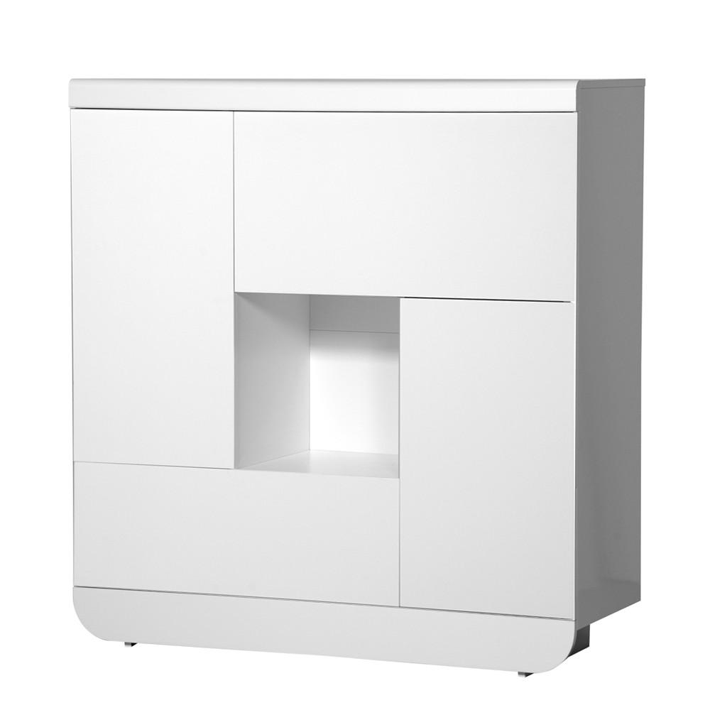 Wohnzimmerschrank Shine - Weiß Hochglanz - Zwei Türen & zwei Klappen