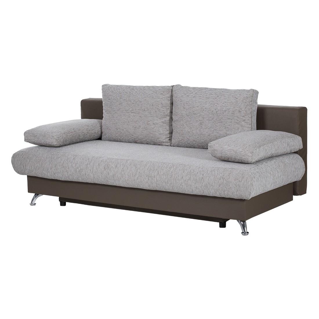 schlafsofa sleepster strukturstoff grau kunstleder taupe. Black Bedroom Furniture Sets. Home Design Ideas