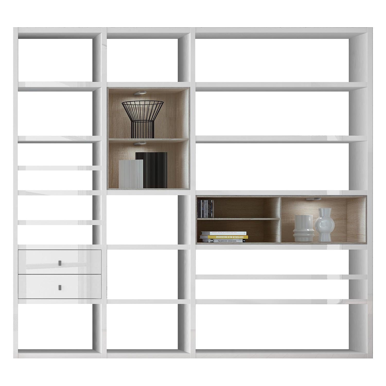 EEK A+, XL Regalwand Emporior I.A - RGB LED-Beleuchtung - Hochglanz Weiß / Eiche Sonoma Dekor, loftscape