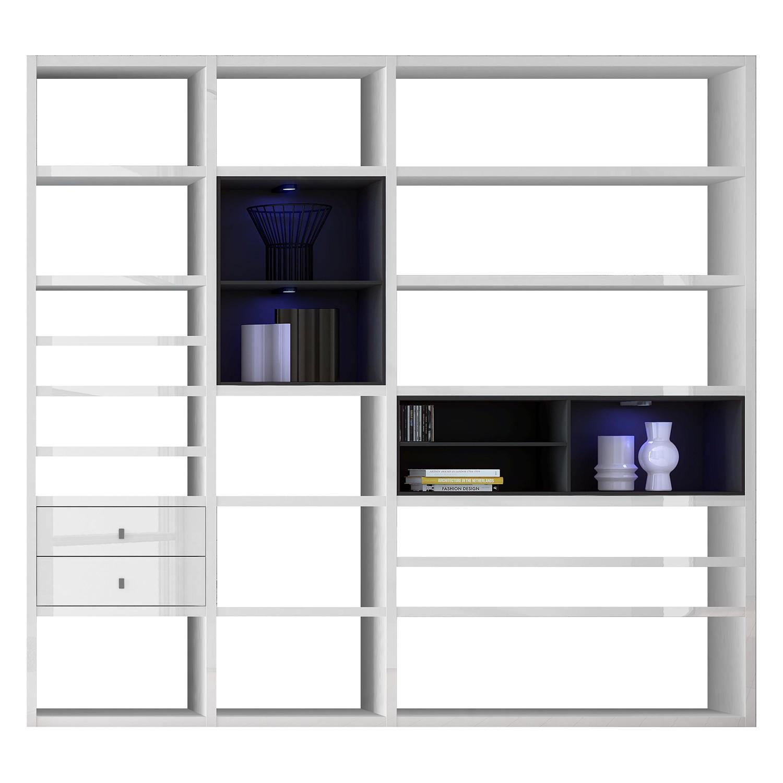 EEK A+, XL Regalwand Emporior I.A - RGB LED-Beleuchtung - Hochglanz Weiß / Schwarz, loftscape