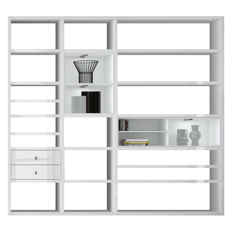 EEK A+, XL Regalwand Emporior I.A - RGB LED-Beleuchtung - Hochglanz Weiß / Weiß, loftscape