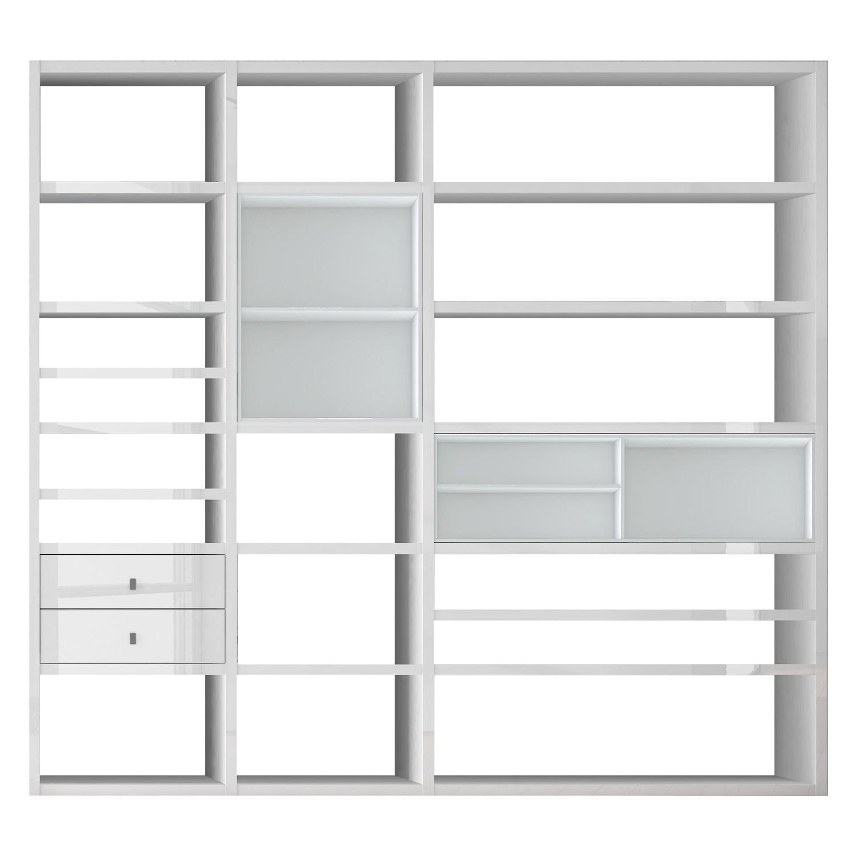 XL open kast Emporior I.A - wit - Zonder verlichting - Hoogglans wit/wit, loftscape