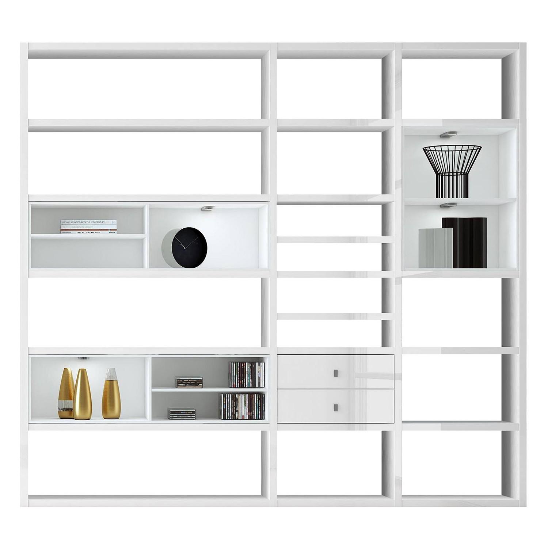 EEK A+, XL Regalwand Emporior I.B - RGB LED-Beleuchtung - Hochglanz Weiß / Weiß, loftscape