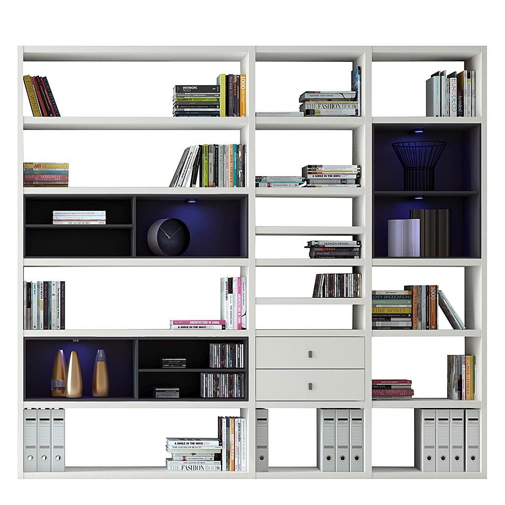 EEK A+, XL Regalwand Emporior I.B - RGB LED-Beleuchtung - Weiß / Schwarz, loftscape