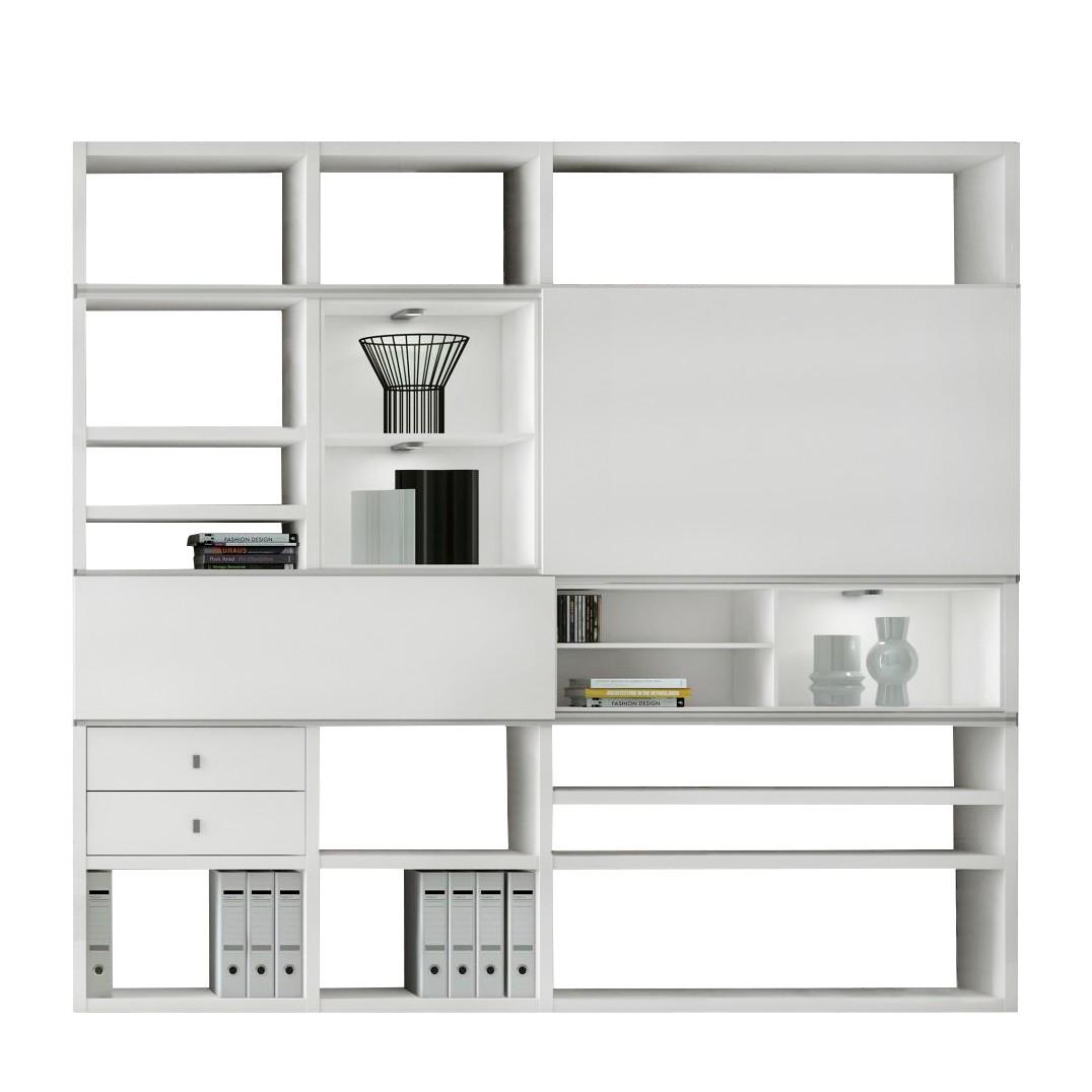 EEK A+, XL Regalwand Emporior I.C - Mit Beleuchtung, loftscape
