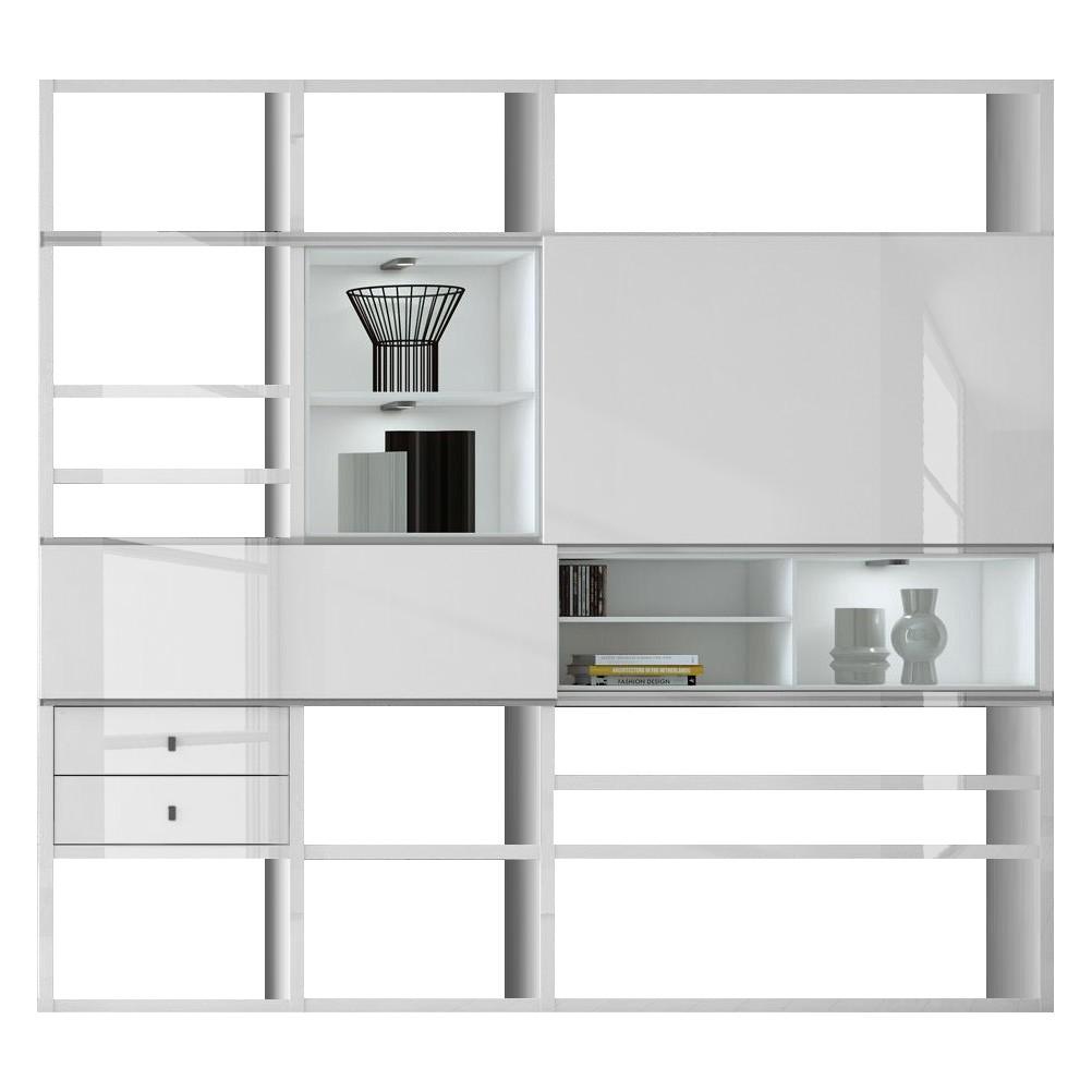EEK A+, XL Regalwand Emporior I.C - Hochglanz Weiß - RGB LED-Beleuchtung, loftscape
