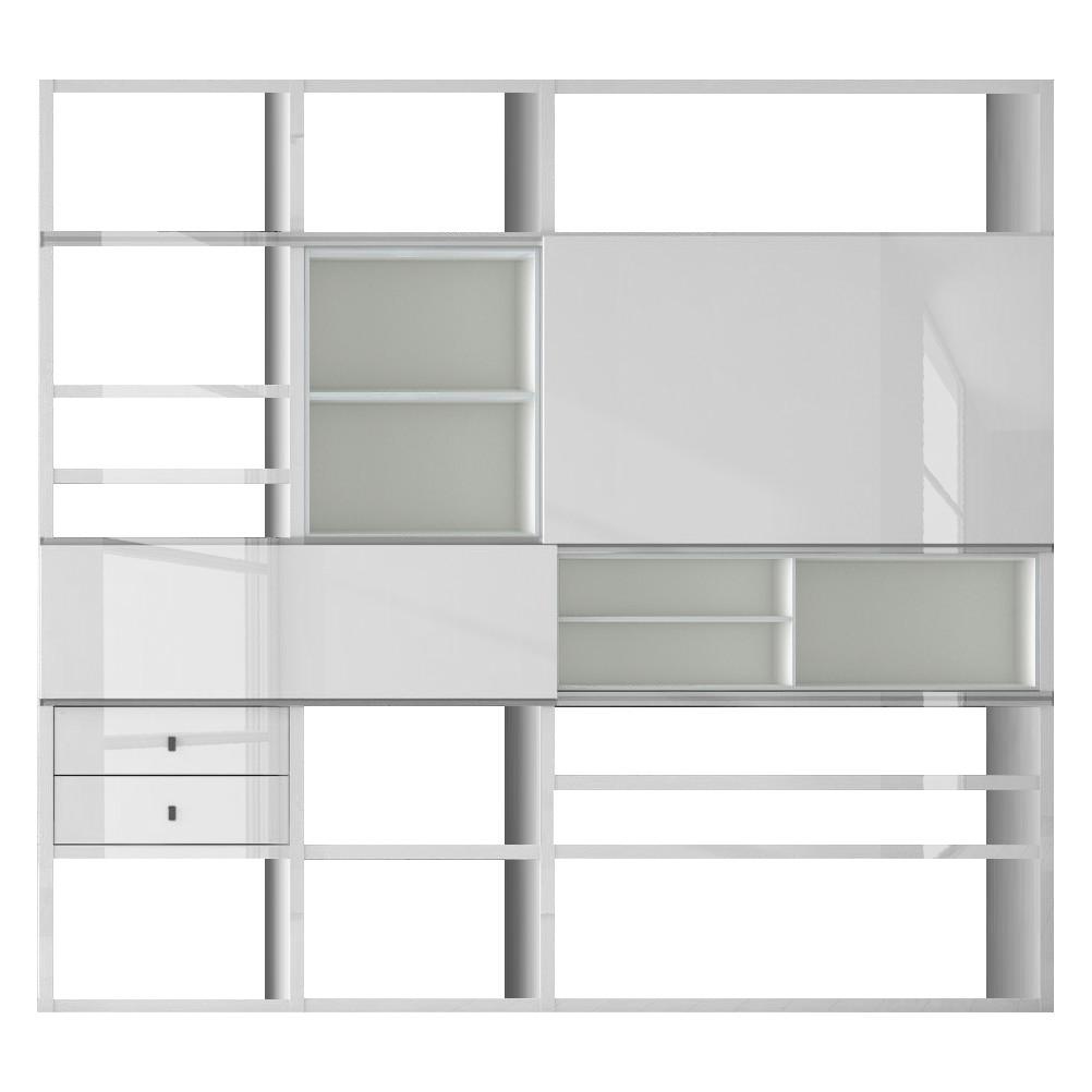 XL Regalwand Emporior I.C - Hochglanz Weiß - Ohne Beleuchtung, loftscape