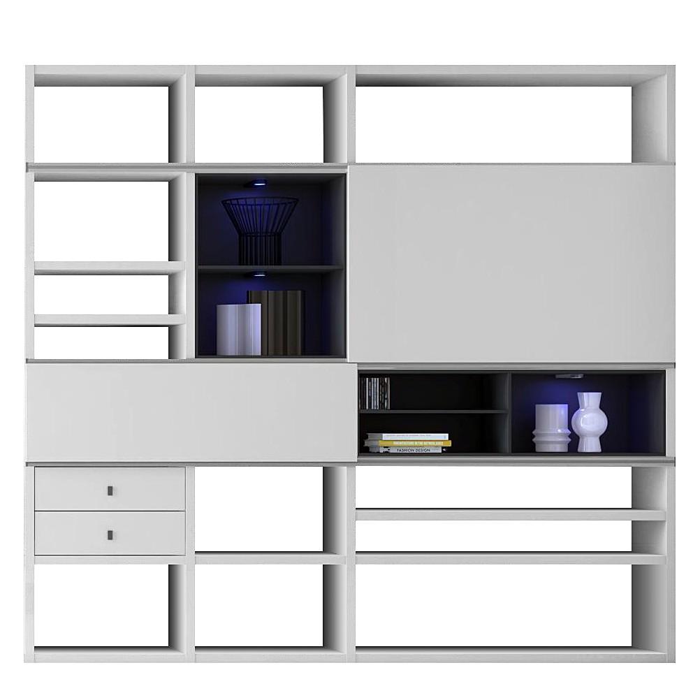 EEK A+, XL Regalwand Emporior I.C – Weiß/Schwarz – Mit Beleuchtung, loftscape bestellen