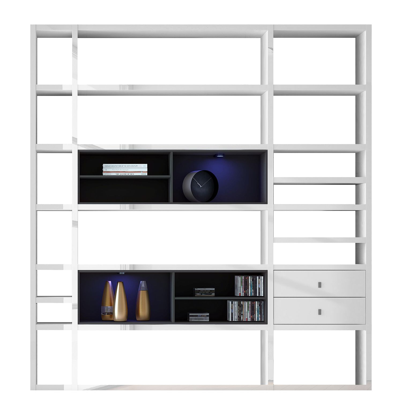 EEK A+, XL Regalwand Emporior II - RGB LED-Beleuchtung - Hochglanz Weiß / Schwarz, loftscape