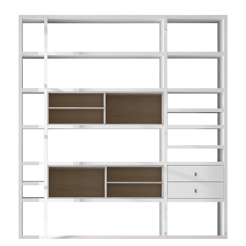 XL Regalwand Emporior II - Ohne Beleuchtung - Hochglanz Weiß / Eiche Sonoma Dekor, loftscape