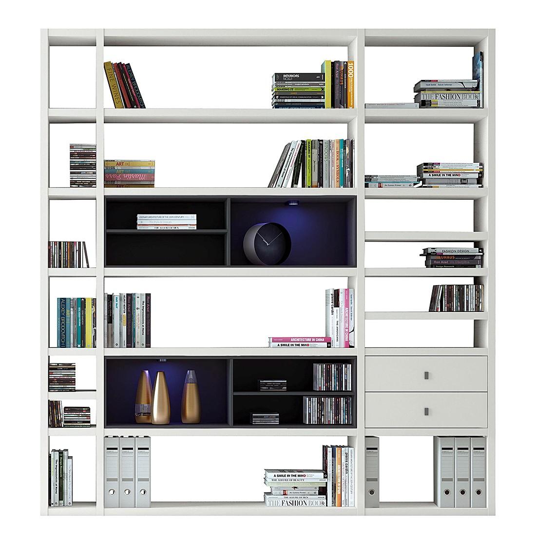 XL Regalwand Emporior II – Schwarz – Matt Weiß Mit Beleuchtung, loftscape günstig