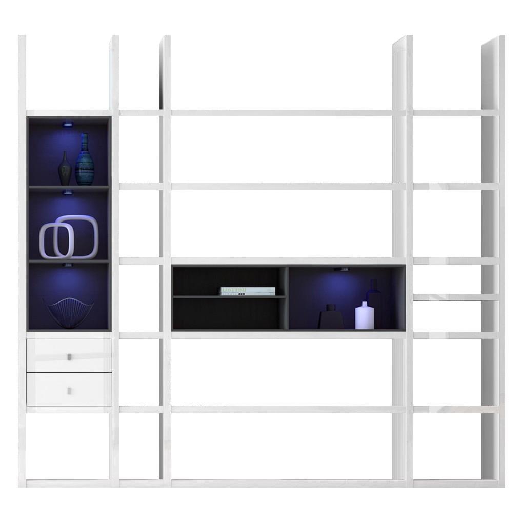 EEK A+, XL Regalwand Emporior III.A - RGB LED-Beleuchtung - Hochglanz Weiß / Schwarz, loftscape