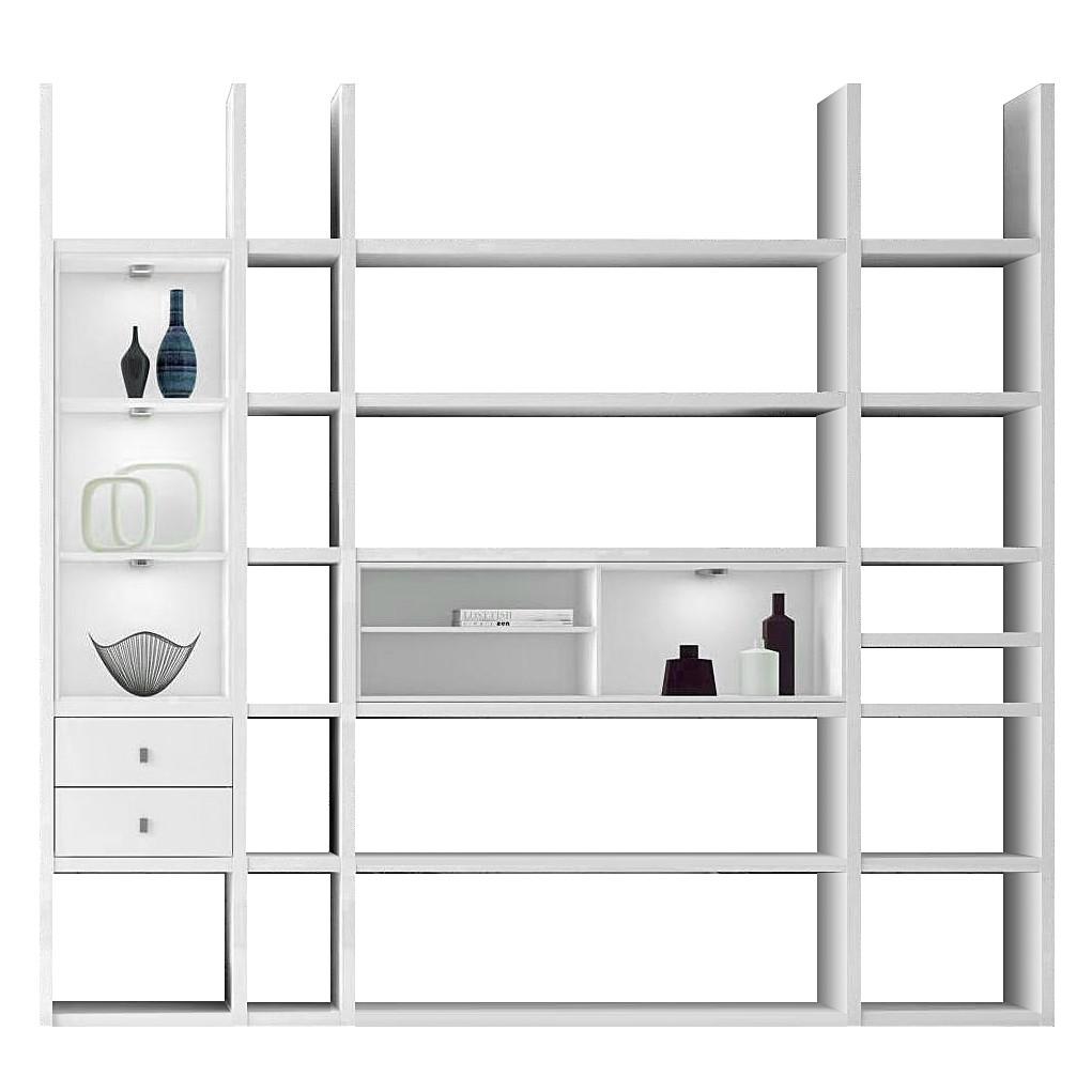 xl regalwand emporior iii a wei matt wei ohne beleuchtung. Black Bedroom Furniture Sets. Home Design Ideas