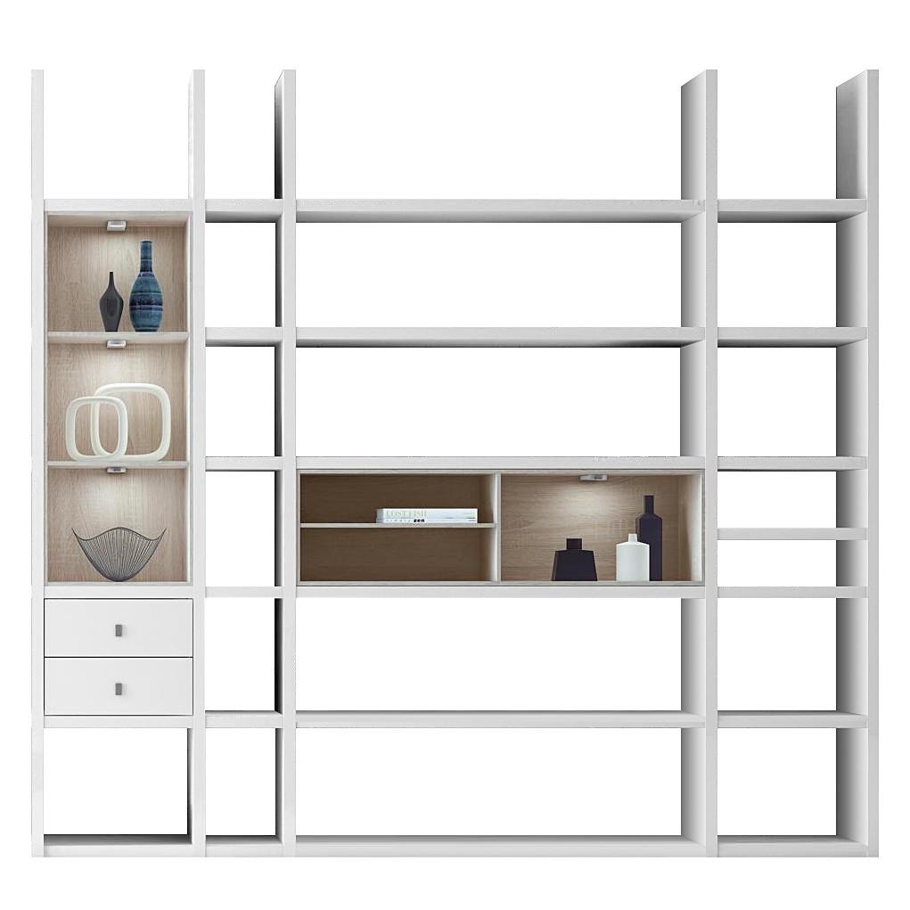 XL Regalwand Emporior III.A – Sonoma Eiche Dekor – Hochglanz Weiß Mit Beleuchtung, loftscape jetzt kaufen