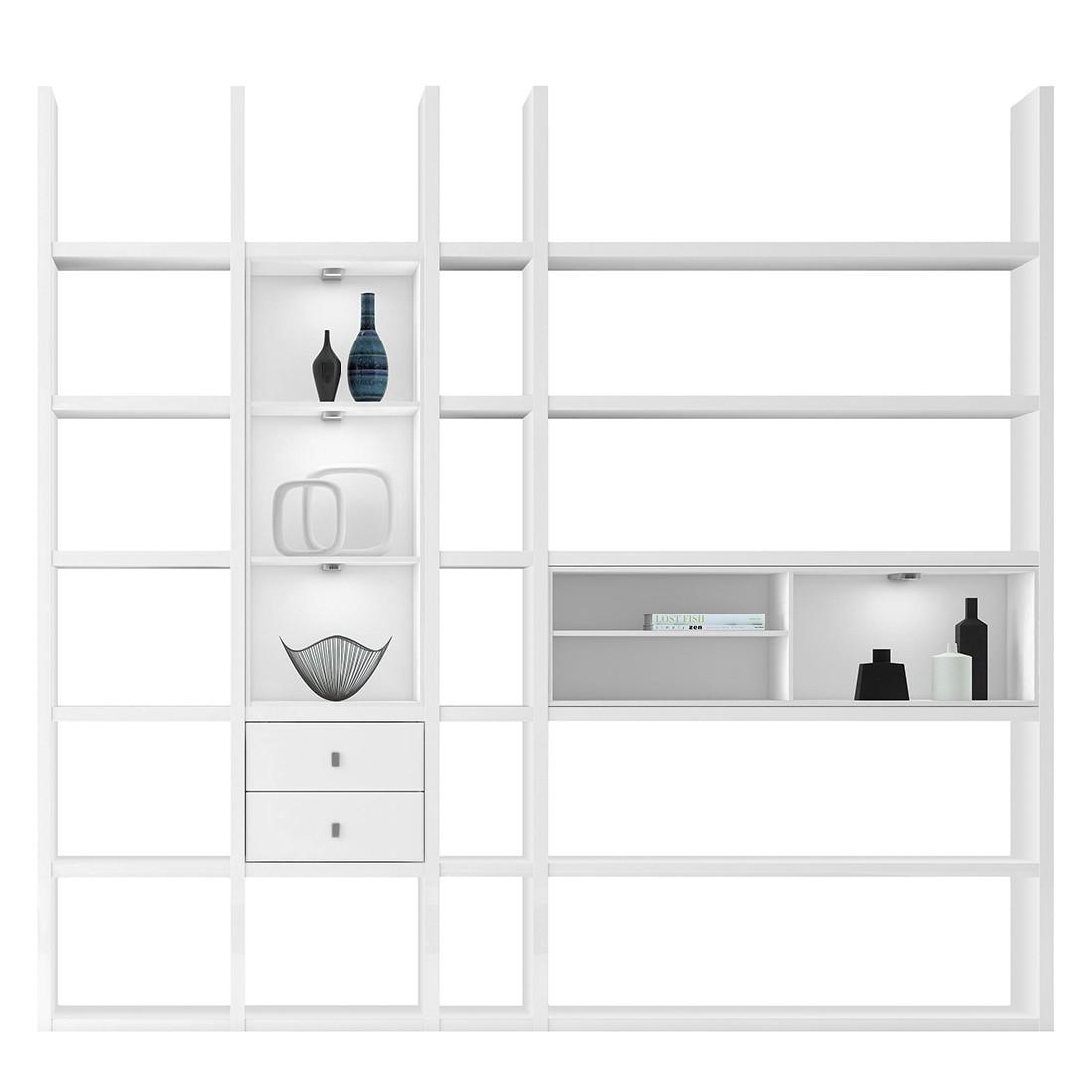 XL Regalwand Emporior III.B – Hochglanz Weiß Ohne Beleuchtung, loftscape günstig