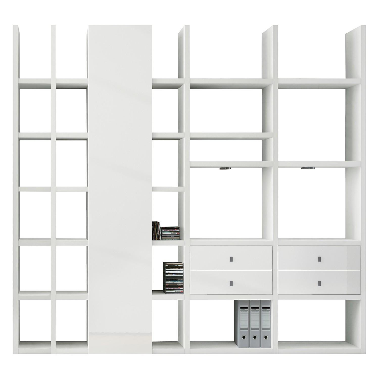 EEK A+, XL Regalwand Emporior VI - RGB LED-Beleuchtung - Hochglanz Weiß, loftscape