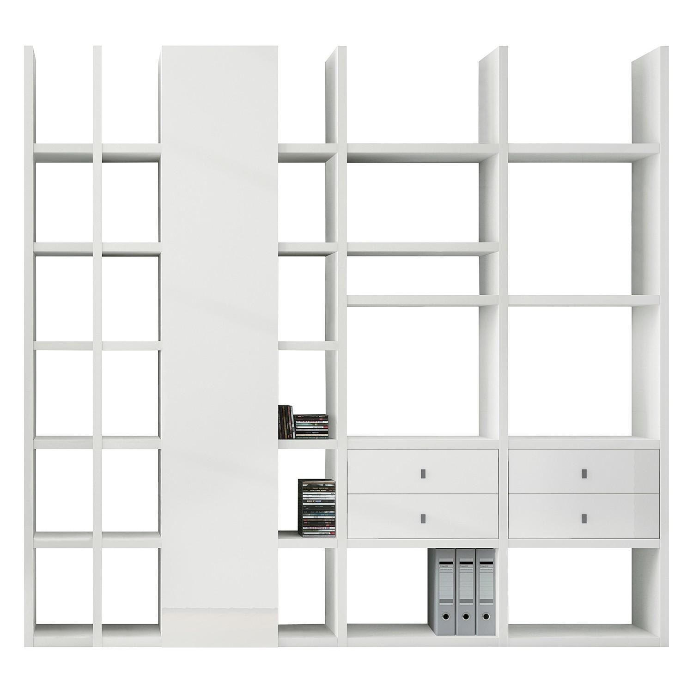 XL Regalwand Emporior VI - Ohne Beleuchtung - Hochglanz Weiß, loftscape