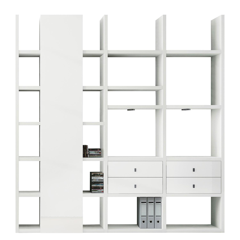 EEK A+, XL Regalwand Emporior VII - RGB LED-Beleuchtung - Hochglanz Weiß, loftscape