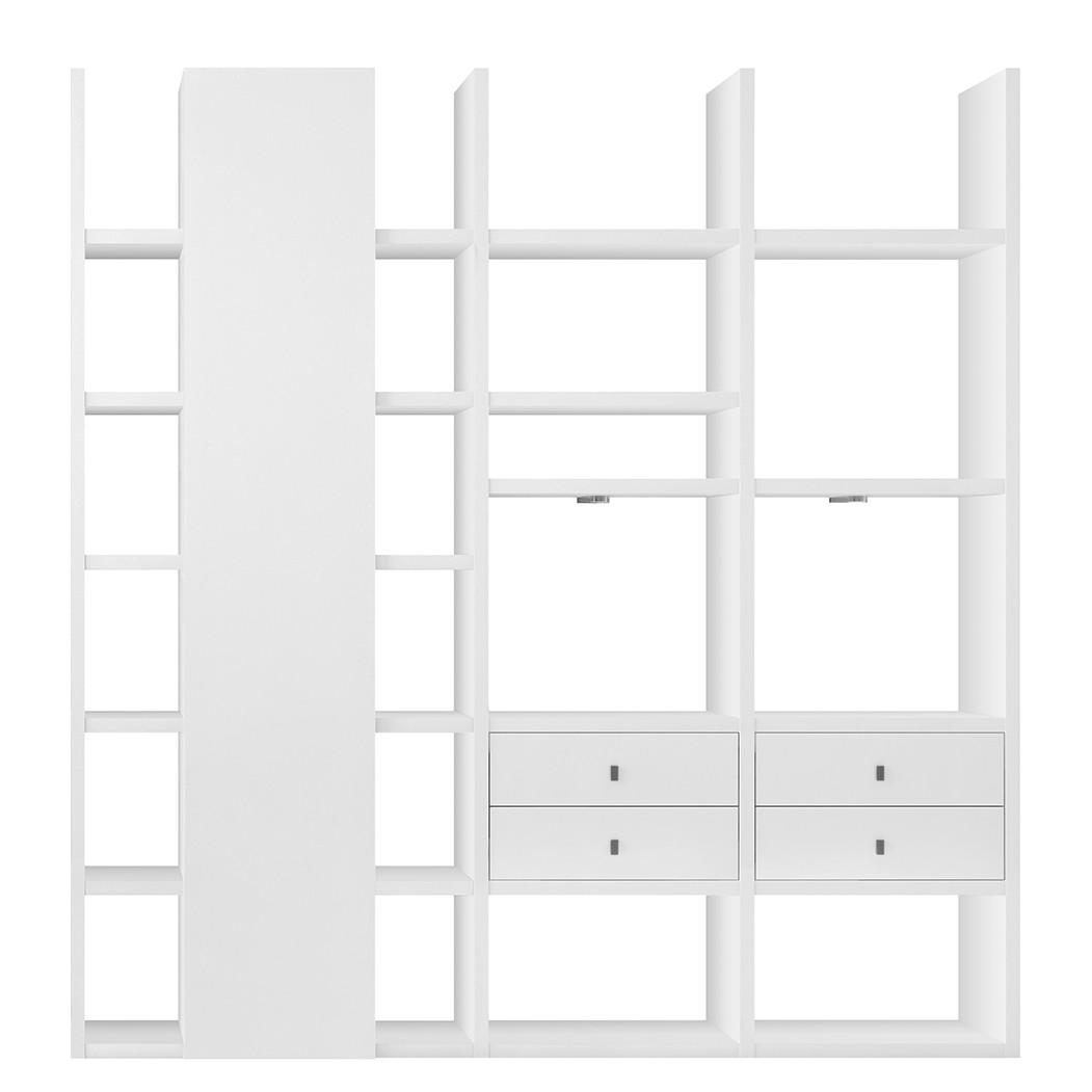 XL Regalwand Emporior VII – Weiß (Hochglanz Weiß ohne Beleuchtung)