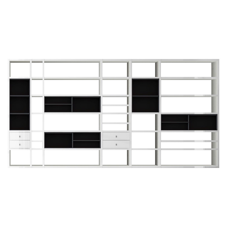 XXL Regalwand Emporior I.A - Ohne Beleuchtung - Hochglanz Weiß / Schwarz, loftscape