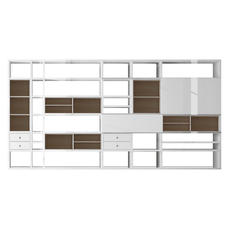 XXL Regalwand Emporior I.B - Hochglanz Weiß / Eiche Sonoma Dekor - Ohne Beleuchtung, loftscape