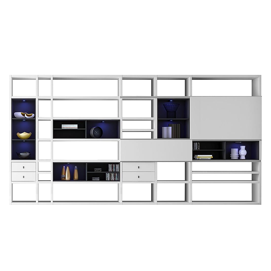XXL Regalwand Emporior I.B – Hochglanz Weiß/Schwarz – Ohne Beleuchtung, loftscape günstig bestellen