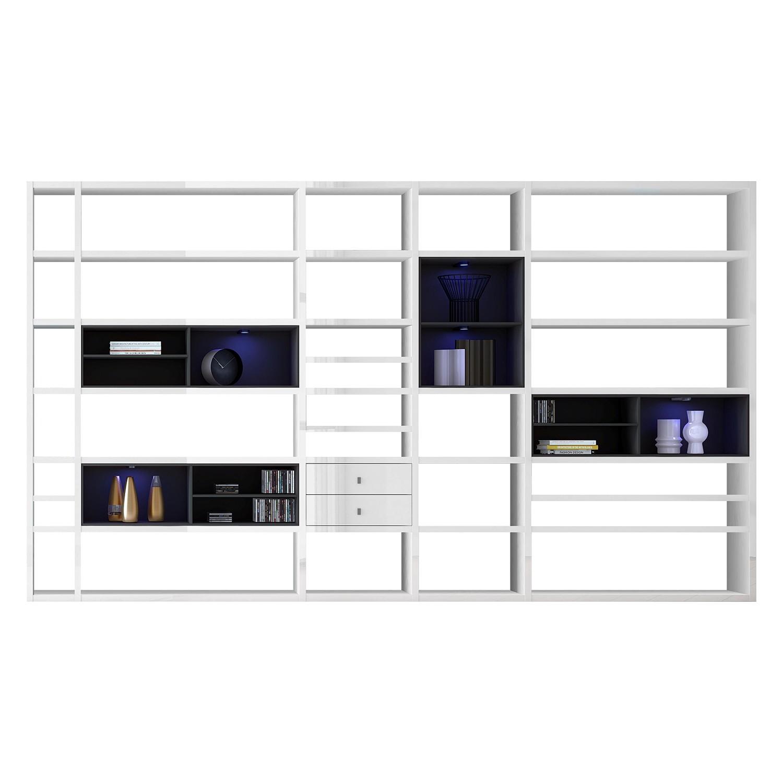 EEK A+, XXL Regalwand Emporior II - RGB LED-Beleuchtung - Hochglanz Weiß / Schwarz, loftscape