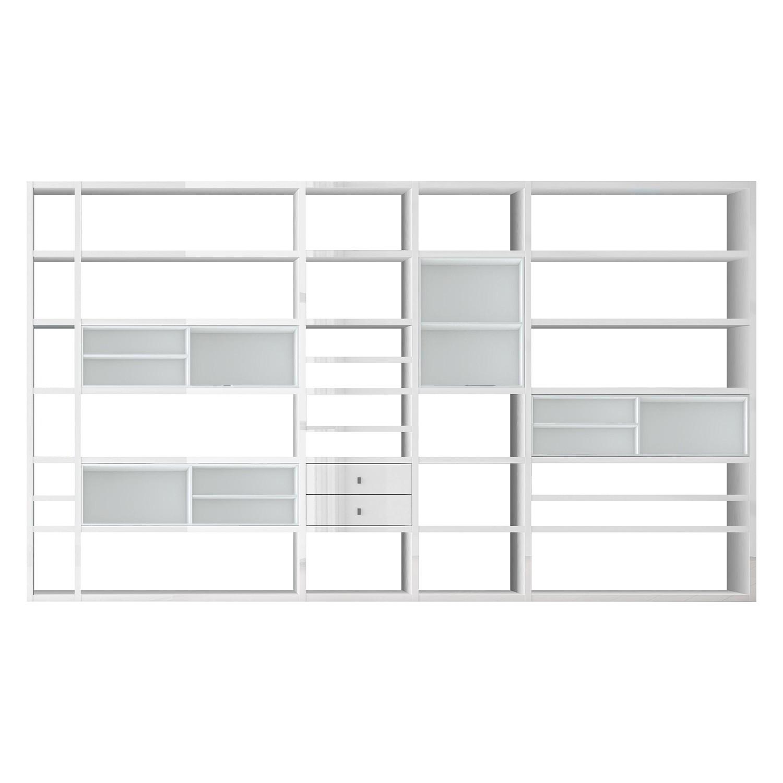 XXL Regalwand Emporior II - Ohne Beleuchtung - Hochglanz Weiß / Weiß, loftscape