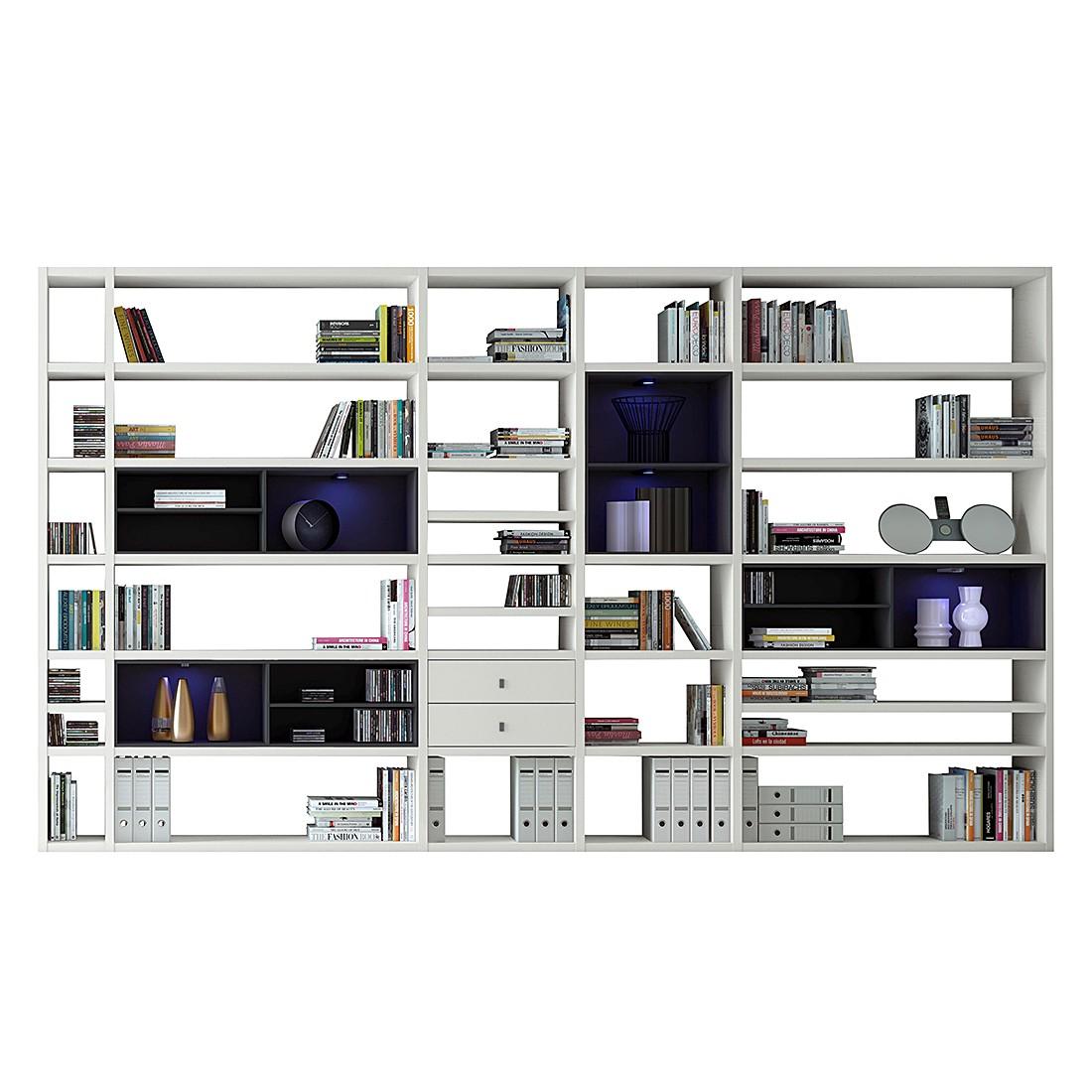 XXL Regalwand Emporior II – Schwarz – Matt Weiß Mit Beleuchtung, loftscape online bestellen