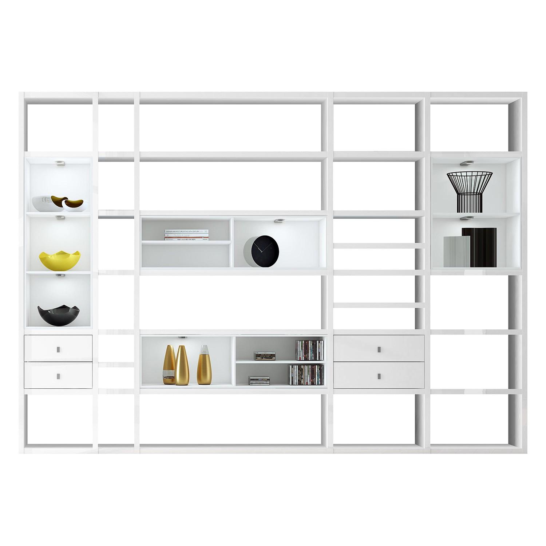 EEK A+, XXL Regalwand Emporior III - RGB LED-Beleuchtung - Hochglanz Weiß / Weiß, loftscape