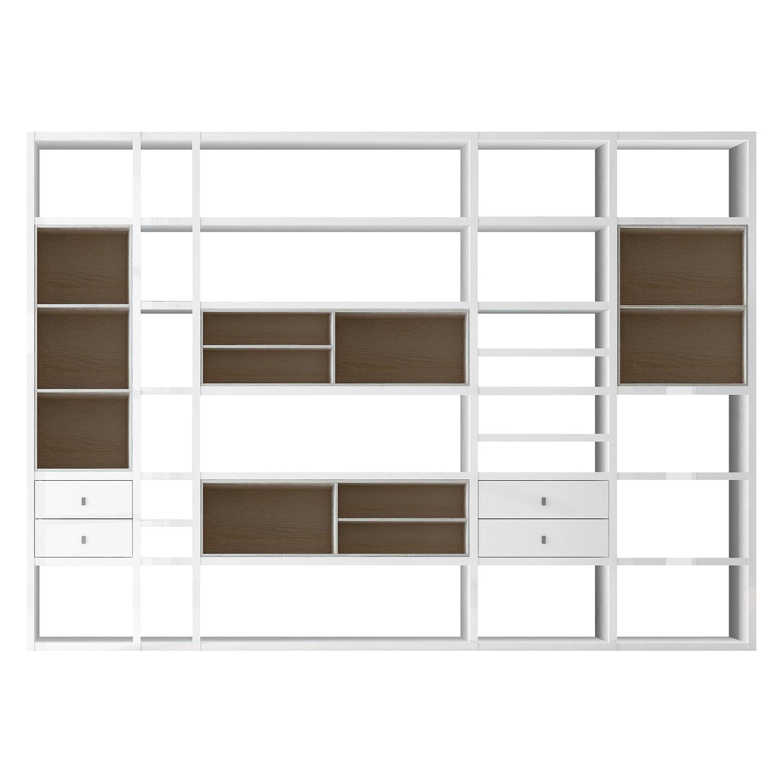 XXL Regalwand Emporior III - Ohne Beleuchtung - Hochglanz Weiß / Eiche Sonoma Dekor, loftscape