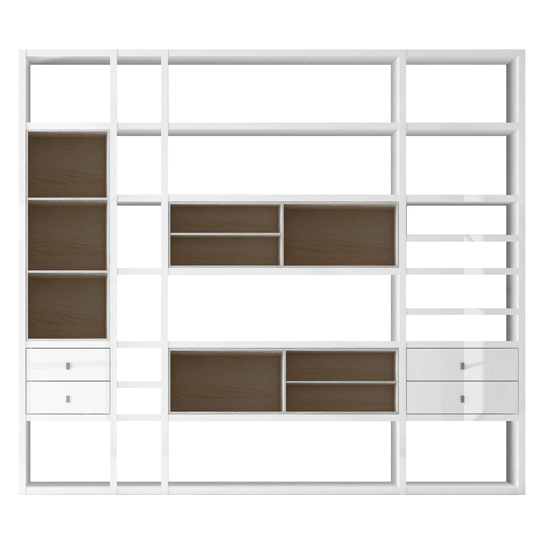 XXL Regalwand Emporior IV.A - Ohne Beleuchtung - Hochglanz Weiß / Eiche Sonoma Dekor, loftscape
