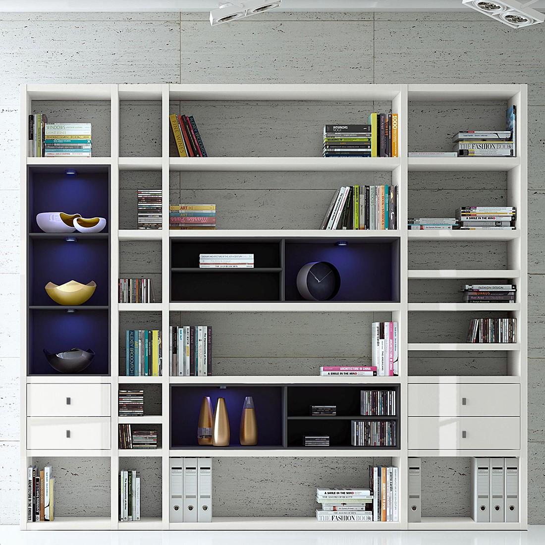EEK A+, XXL Regalwand Emporior IV.A - RGB LED-Beleuchtung - Hochglanz Weiß / Schwarz, loftscape