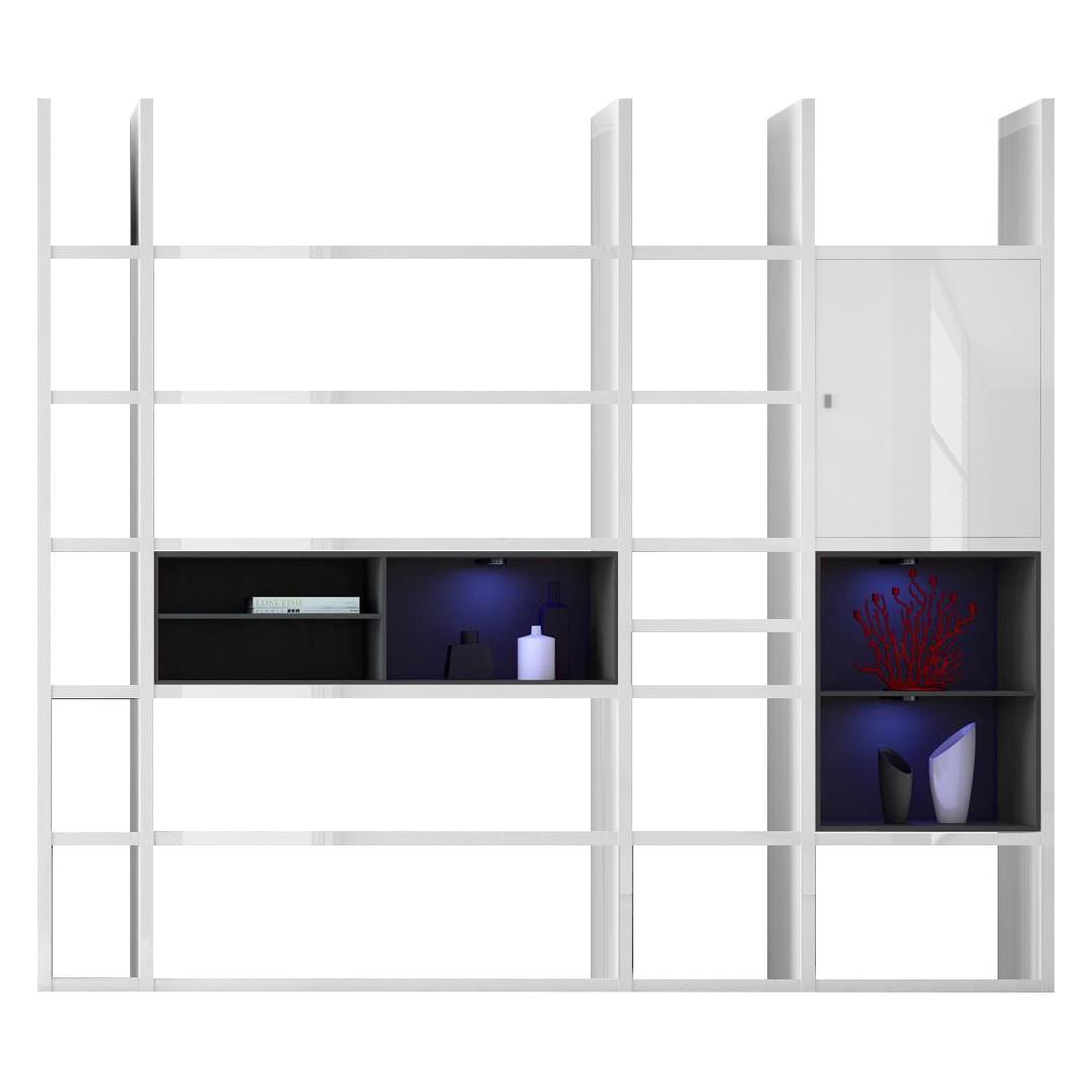 EEK A+, XXL Regalwand Emporior IV.B - RGB LED-Beleuchtung - Hochglanz Weiß / Schwarz, loftscape