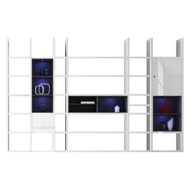 EEK A+, XXL Regalwand Emporior V.A - RGB LED-Beleuchtung - Hochglanz Weiß / Schwarz, loftscape