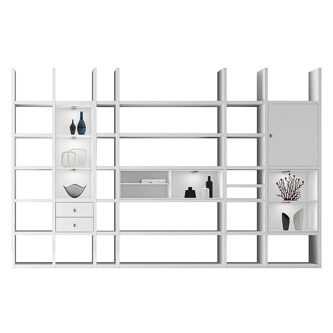XXL Regalwand Emporior V.A – Hochglanz Weiß Mit Beleuchtung, loftscape jetzt kaufen