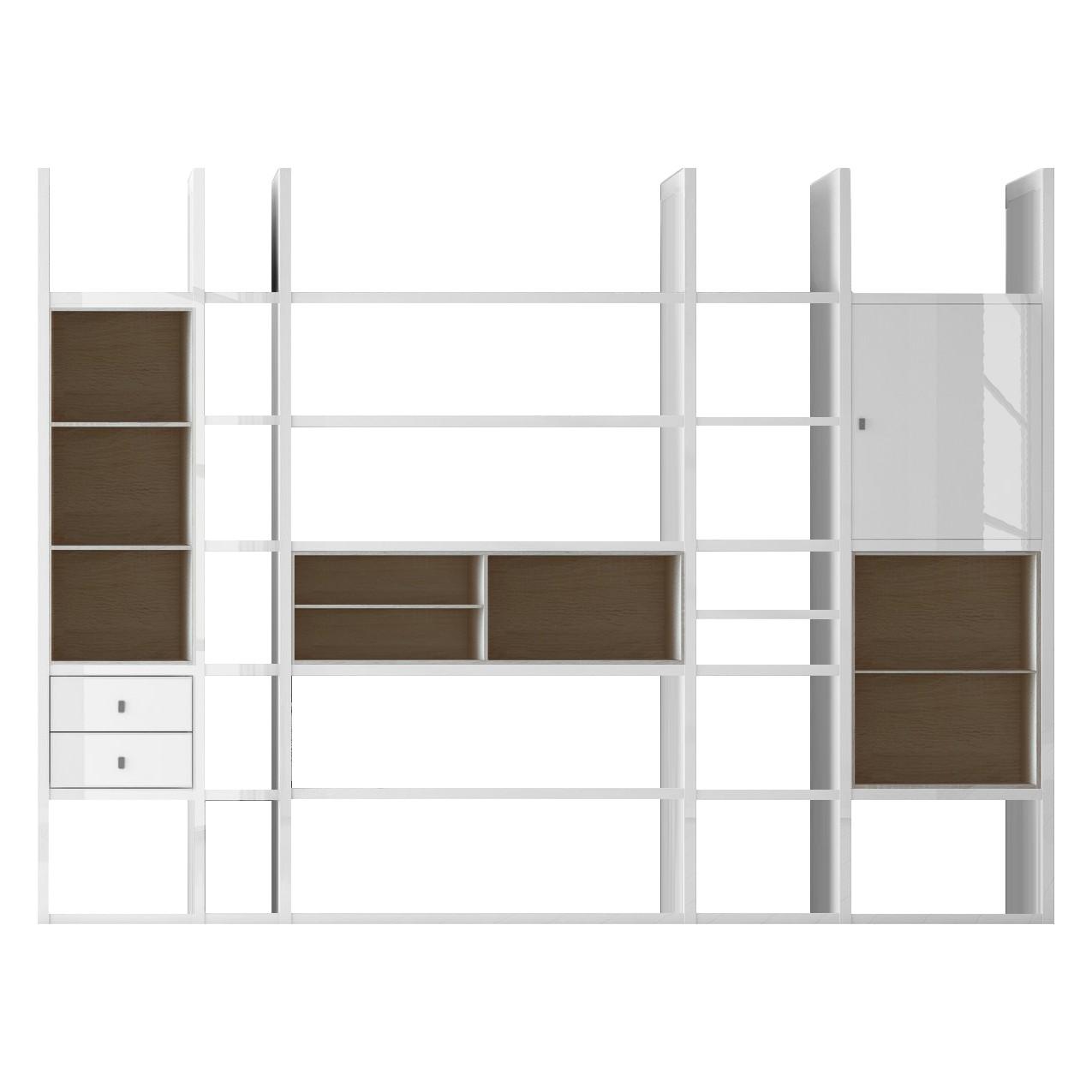XXL Regalwand Emporior VI - Ohne Beleuchtung - Hochglanz Weiß / Eiche Sonoma Dekor, loftscape