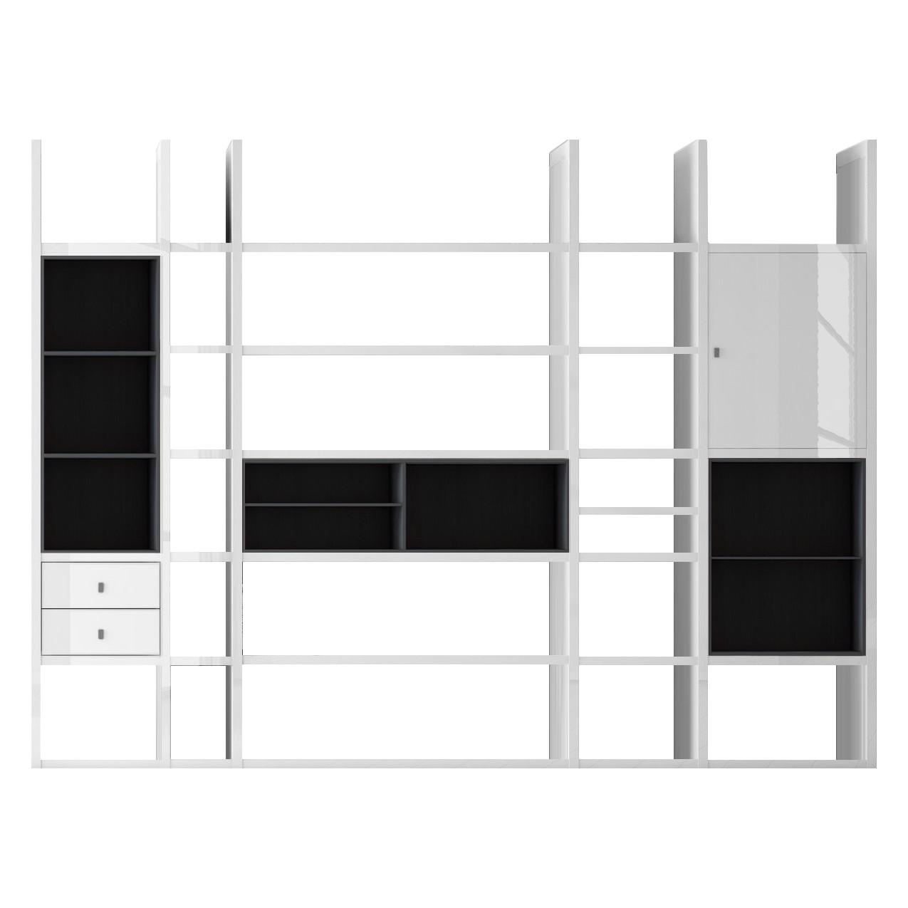 XXL Regalwand Emporior VI - Ohne Beleuchtung - Hochglanz Weiß / Schwarz, loftscape