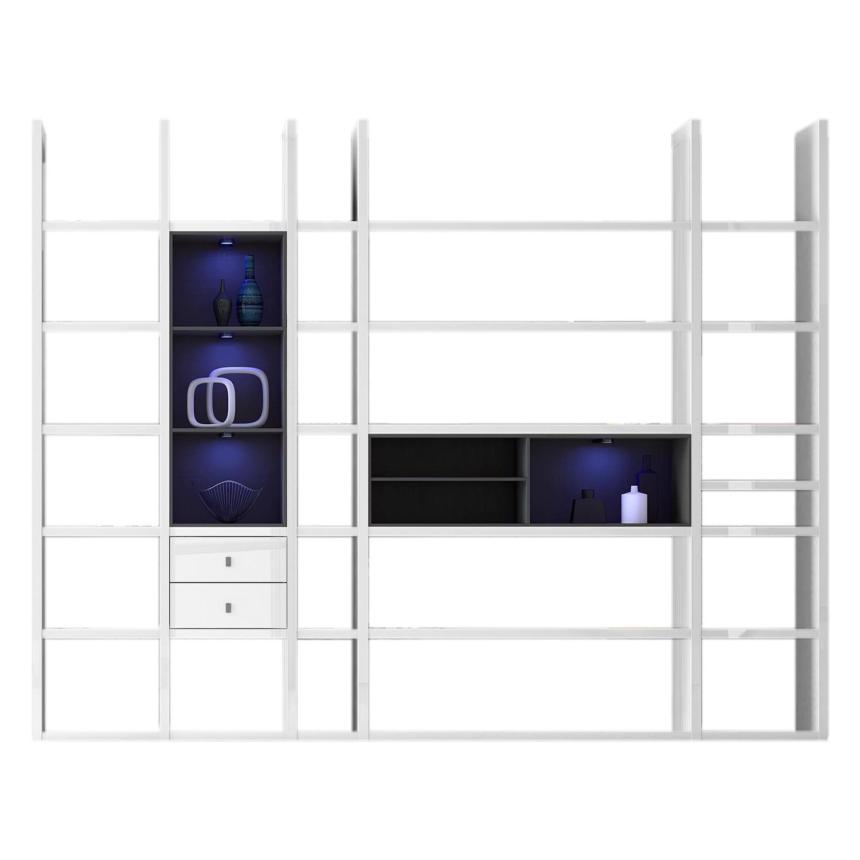 EEK A+, XXL Regalwand Emporior VII - RGB LED-Beleuchtung - Hochglanz Weiß / Schwarz, loftscape
