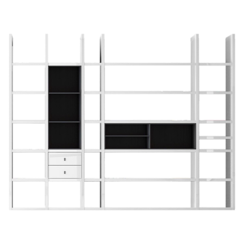 XXL Regalwand Emporior VII - Ohne Beleuchtung - Hochglanz Weiß / Schwarz, loftscape