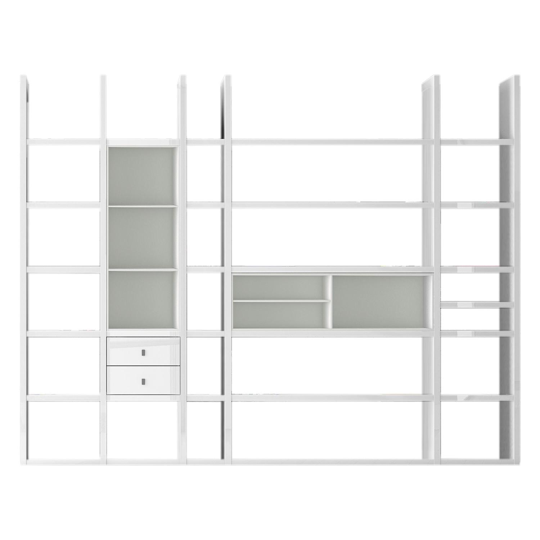 XXL Regalwand Emporior VII - Ohne Beleuchtung - Hochglanz Weiß / Weiß, loftscape