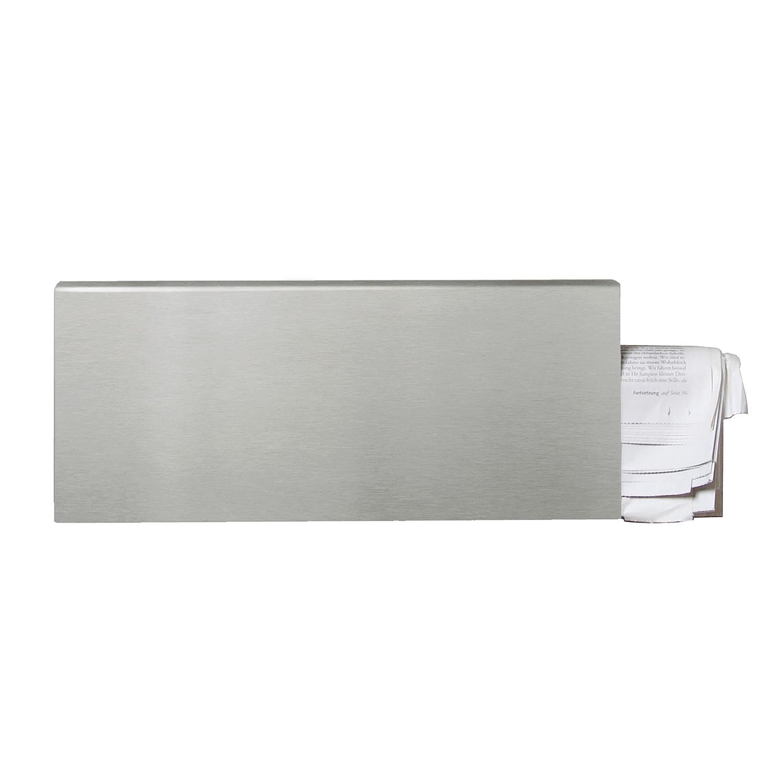 Zeitungsfach Square - Edelstahl, matt gebürstet - Silber, Serafini